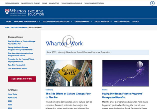 Wharton@Work Newsletter