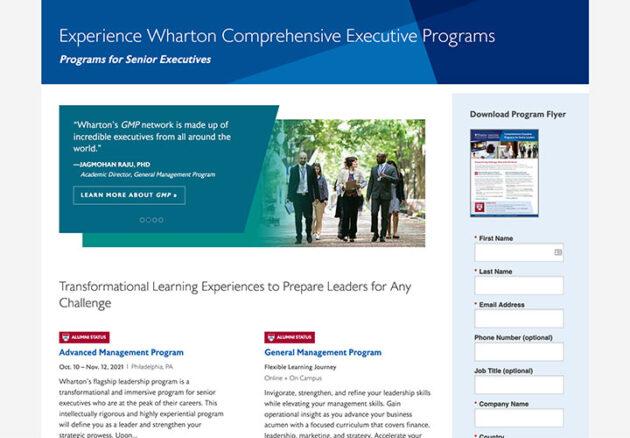 Wharton Landing Page