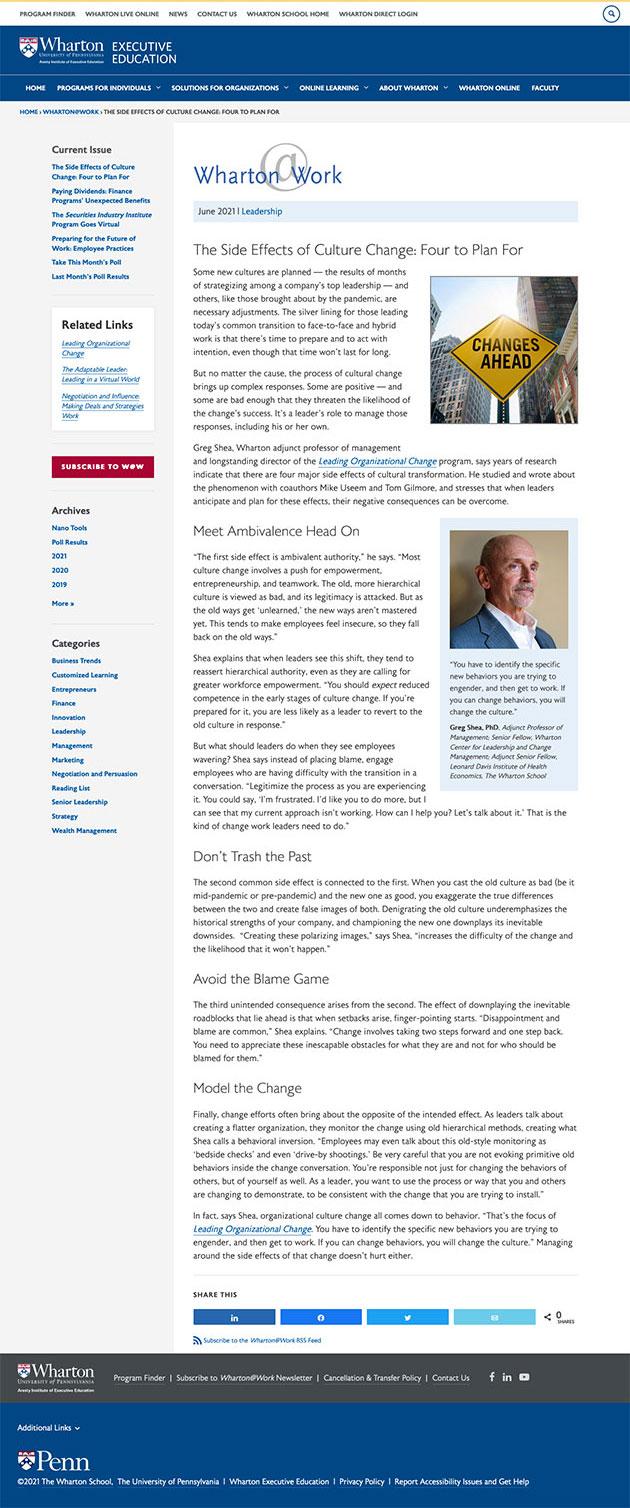 Wharton@Work Article