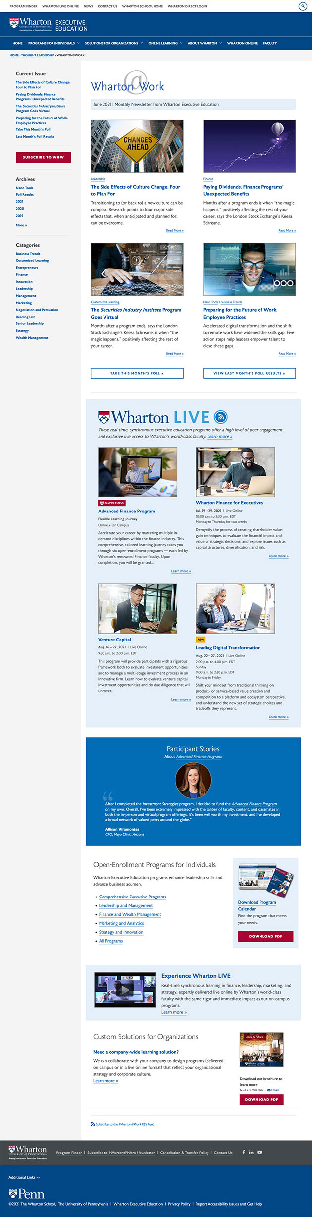 Wharton@Work Main Web Page